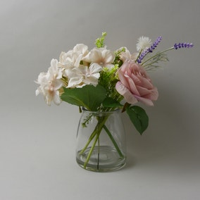 Rose and Hydrangea in Glass Vase Pink 24cm