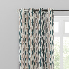 Elements Triangles Peacock Eyelet Curtains