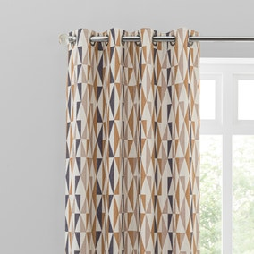 Elements Triangles Toffee Eyelet Curtains