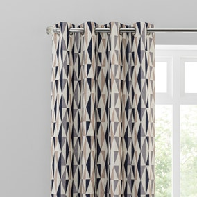 Elements Triangles Navy Eyelet Curtains