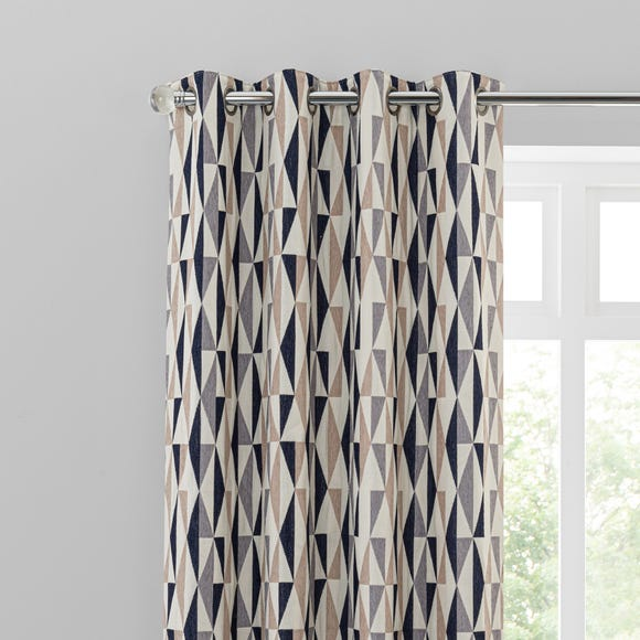 Elements Triangles Navy Eyelet Curtains  undefined