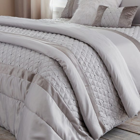 Catherine Lansfield Silver Sequin Cluster Bedspread