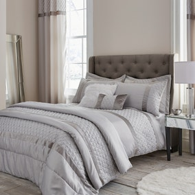 Catherine Lansfield Silver Sequin Cluster Duvet Cover and Pillowcase Set