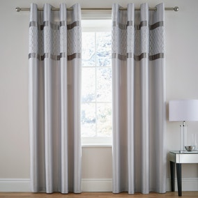 Catherine Lansfield Silver Sequin Cluster Eyelet Curtains