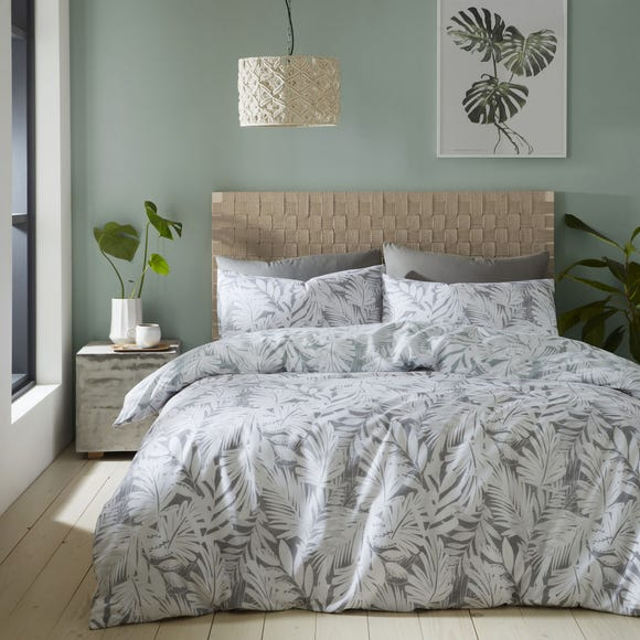 Catherine Lansfield Grey Montego Leaf Reversible Duvet Cover and Pillowcase Set  undefined