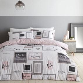 Catherine Lansfield Blush Sleep Dreams Duvet Cover and Pillowcase Set