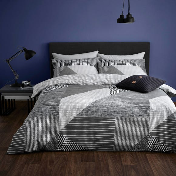 Catherine Lansfield Larsson Geo Grey Duvet Cover and Pillowcase Set  undefined