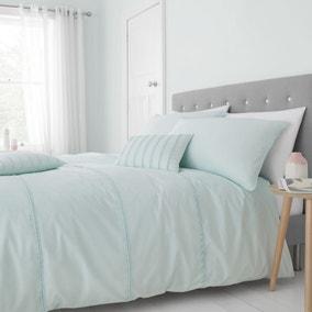Catherine Lansfield Mint Pom Pom Easy Care Duvet Cover and Pillowcase Set