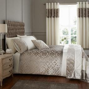 Catherine Lansfield Natural Lattice Cut Velvet Duvet Cover and Pillowcase Set
