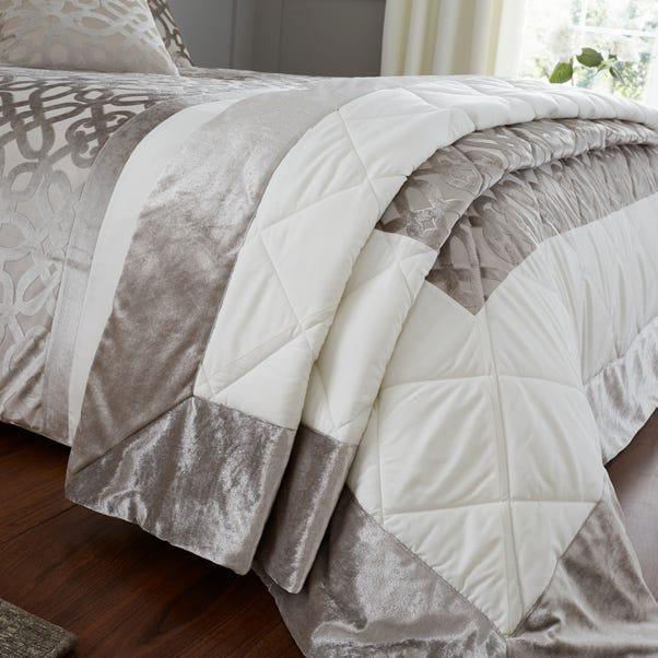 Catherine Lansfield Natural Lattice Cut Velvet Bedspread Natural