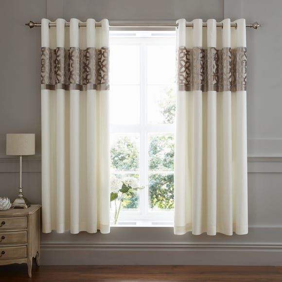 Catherine Lansfield Natural Lattice Cut Velvet Eyelet Curtains Natural undefined