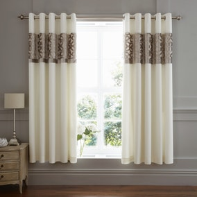 Catherine Lansfield Natural Lattice Cut Velvet Eyelet Curtains
