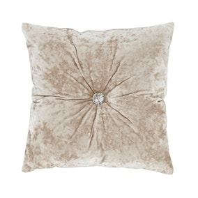 Catherine Lansfield Natural Crushed Velvet Cushion