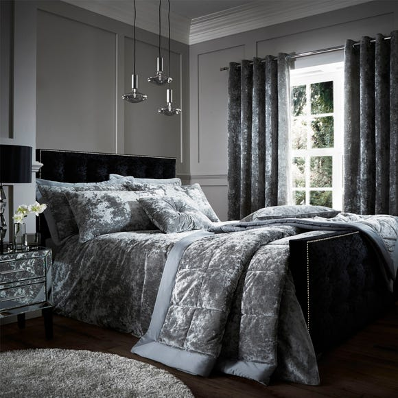 Catherine Lansfield Silver Crushed Velvet Duvet Cover and Pillowcase Set  undefined