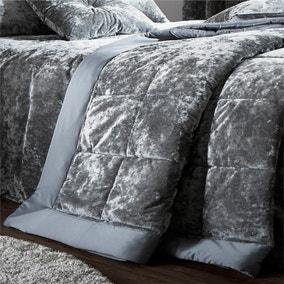 Catherine Lansfield Silver Crushed Velvet Bedspread