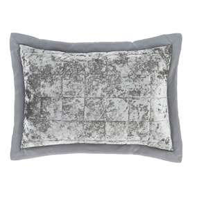 Catherine Lansfield Silver Crushed Velvet Pillow Sham Pair