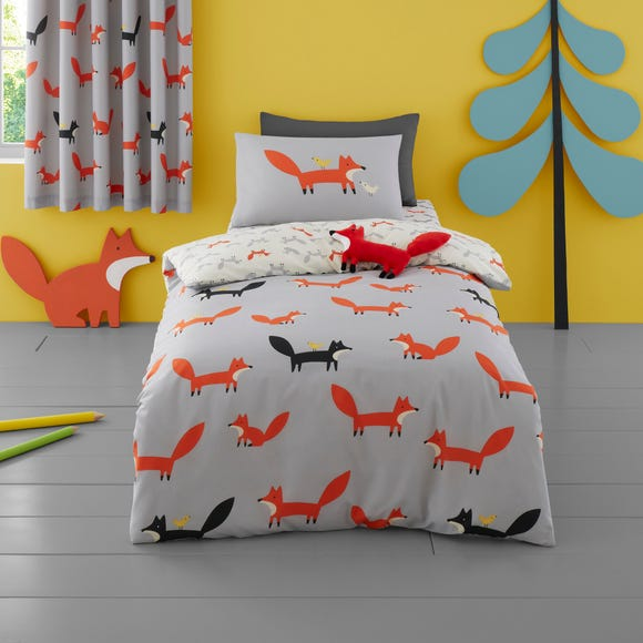 Cosatto Mister Fox 100% Cotton Duvet Cover and Pillowcase Set Grey undefined