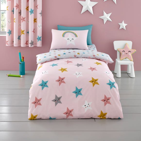 Cosatto Happy Stars 100% Cotton Duvet Cover and Pillowcase Set Pink undefined