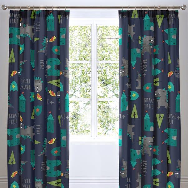 Cosatto Dragon Kingdom Pencil Pleat Curtains Blue