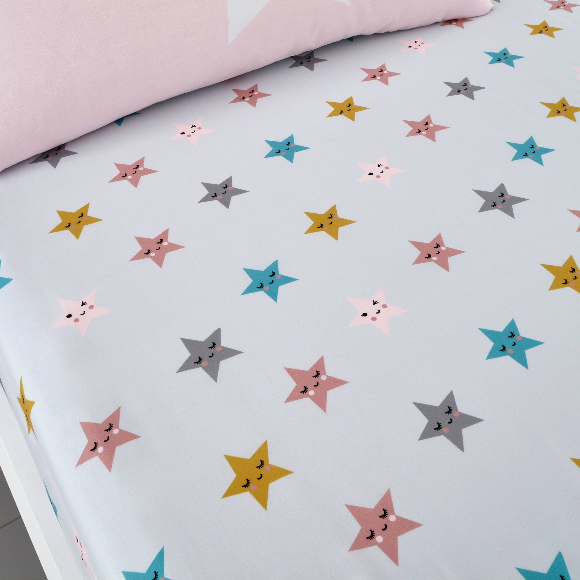 Photo of Cosatto happy stars 100 cotton fitted sheet twin pack pink