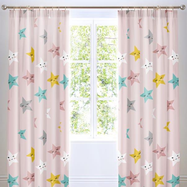 Cosatto Happy Stars Pencil Pleat Curtains Pink