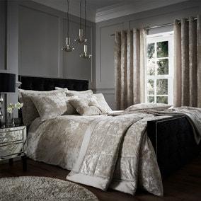 Catherine Lansfield Natural Crushed Velvet Duvet Cover and Pillowcase Set