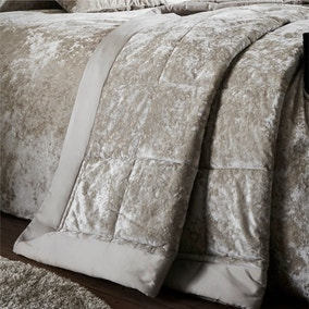 Catherine Lansfield Natural Crushed Velvet Bedspread