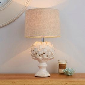 Dorma Brimstage Cream Artichoke and Linen Shade Table Lamp