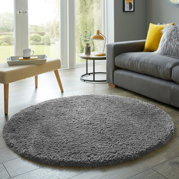 Cosy Teddy Round Rug Teddy Charcoal undefined