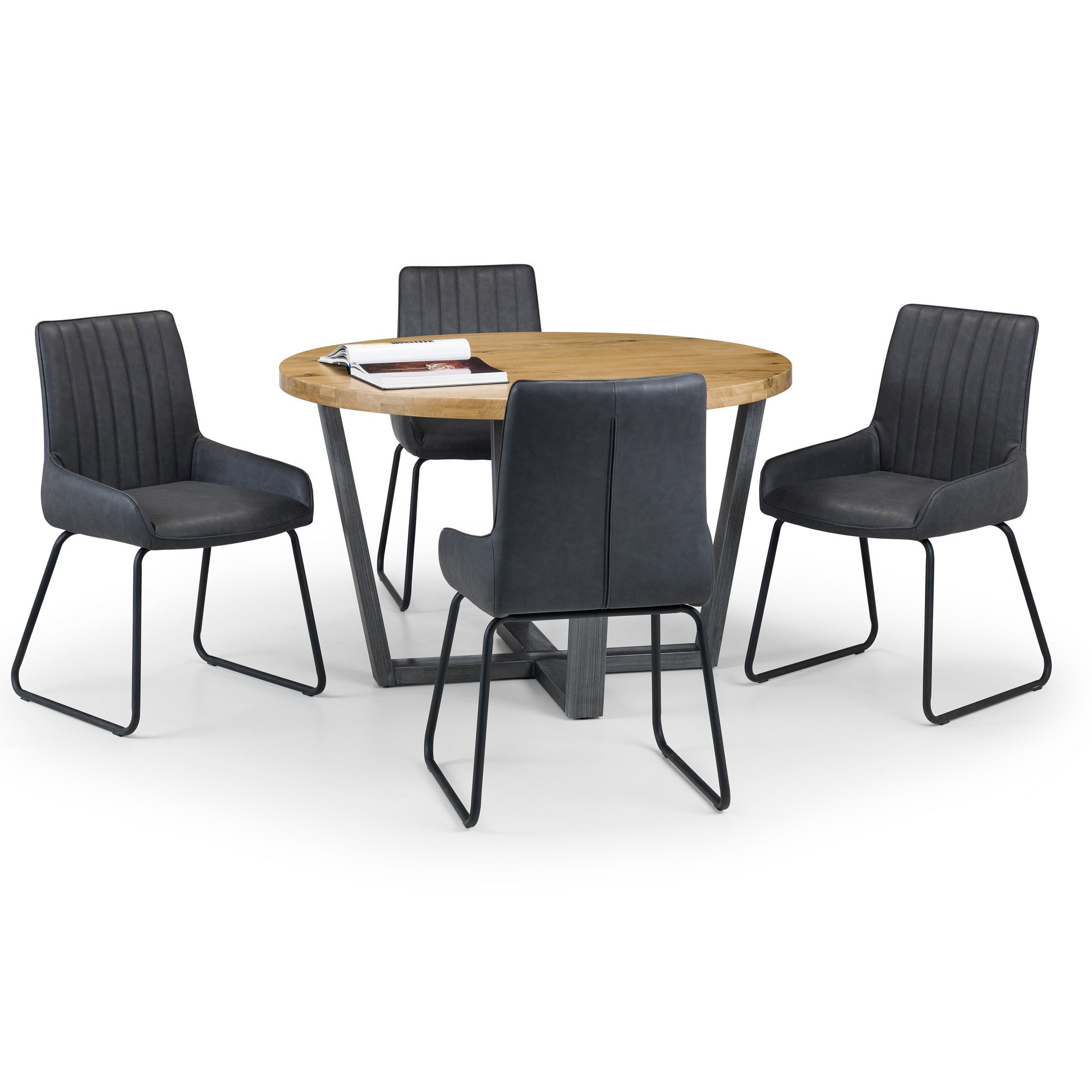 Brooklyn Round Dining Table with 4 Soho Chairs Brown and Charcoal