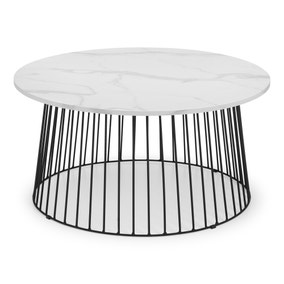 Broadway Round White Marble Coffee Table