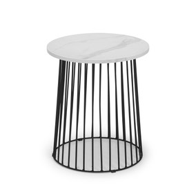 Broadway Round White Marble Lamp Table