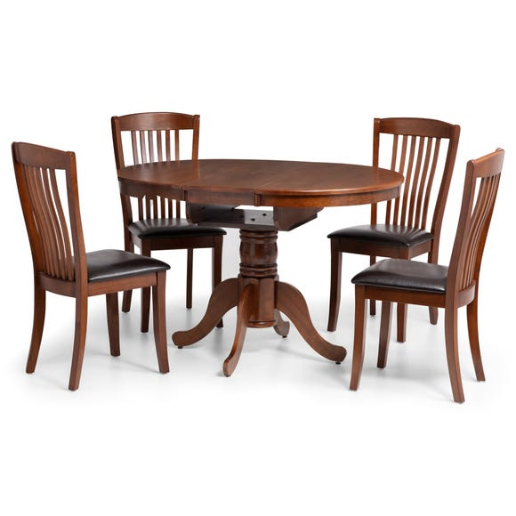 Cantebury Dining Table with 4 Chairs Mahogany (Brown)
