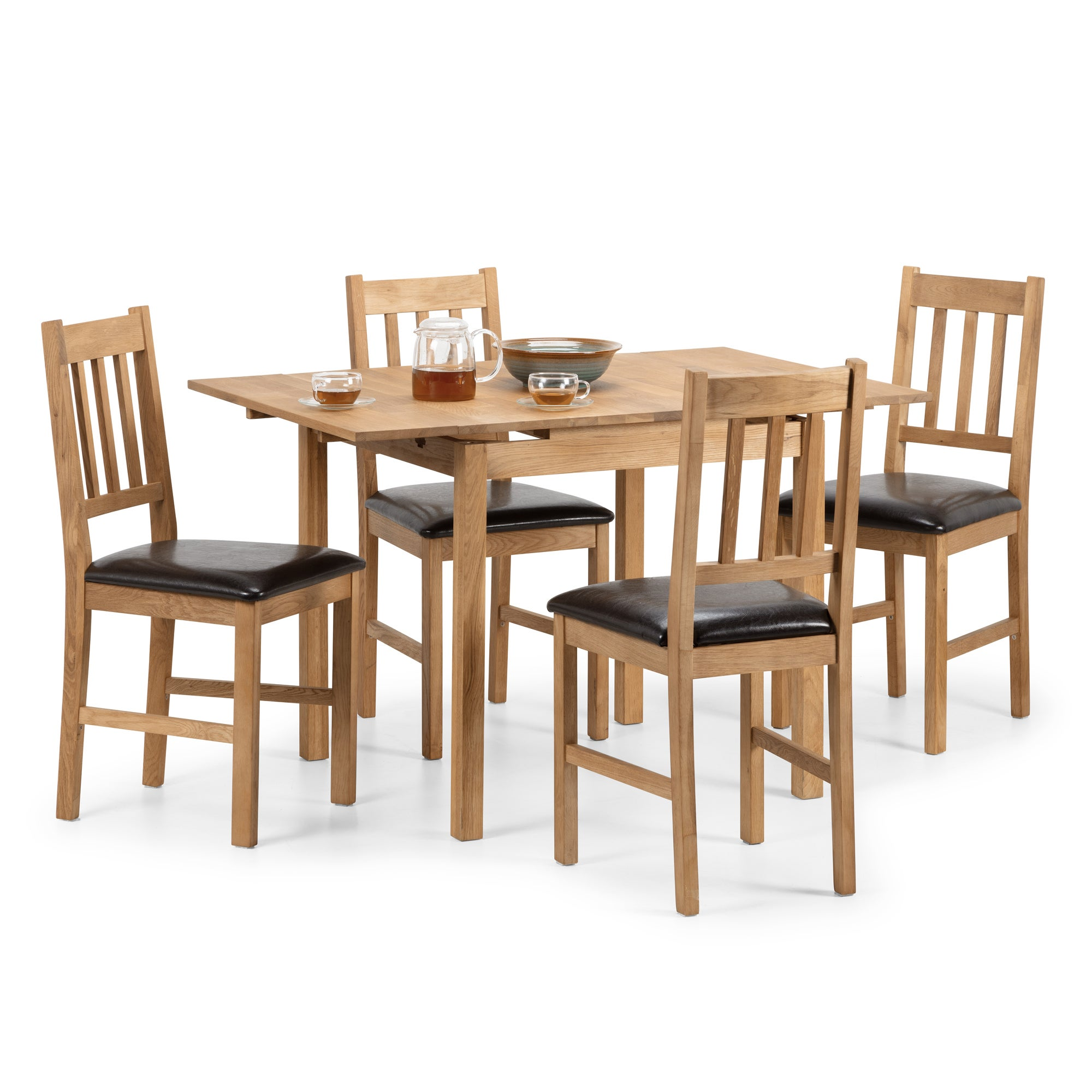 Coxmoor Extending Dining Table with 4 Chairs Oak (Brown)