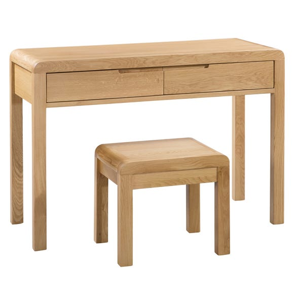 Curve 2 Drawer Dressing Table and Stool Oak (Brown)
