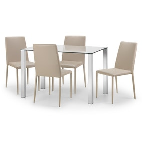 Enzo Glass Dining Table with 4 Jazz Chairs