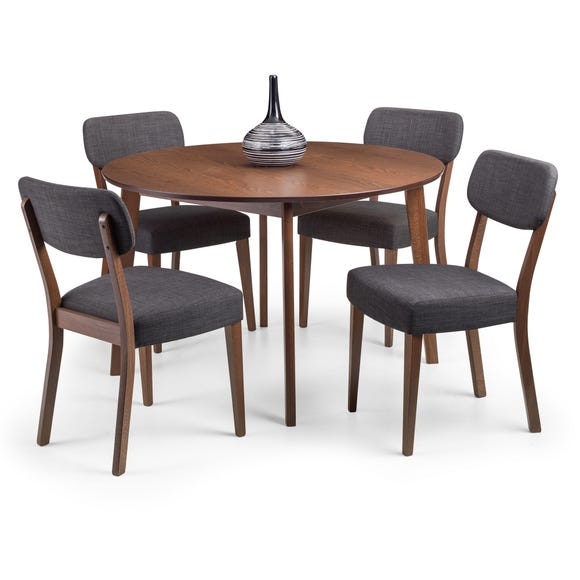 Farringdon Dining Table with 4 Chairs Walnut (Brown)
