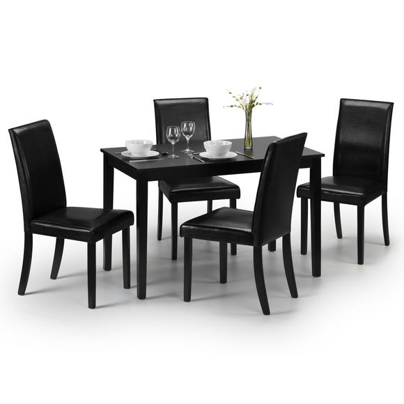 Hudson Dining Table with 4 Chairs Black
