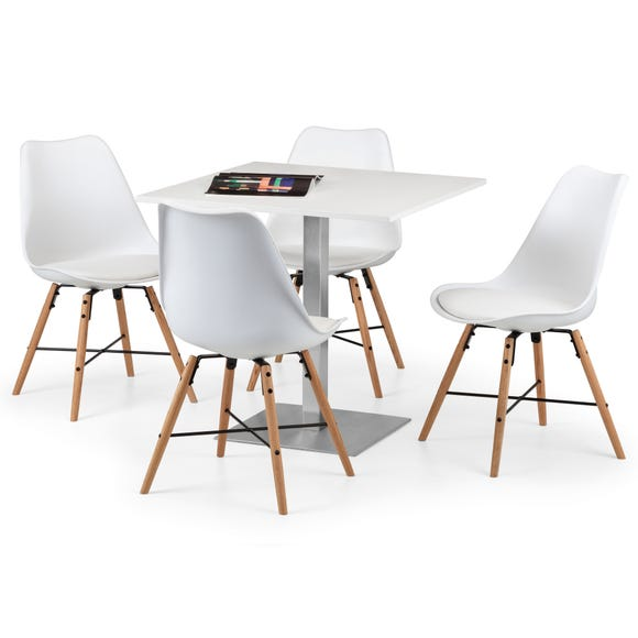 Pisa White Dining Table with 4 Kari Chairs