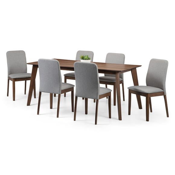 Berkely Dining Table with 6 Chairs Walnut (Brown)