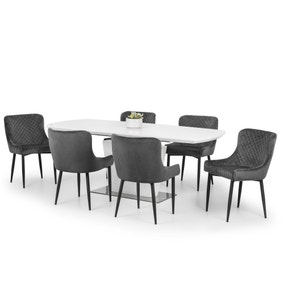 Como Dining Table with 6 Luxe Grey Chairs