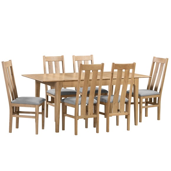Cotswold Extending Dining Table with 6 Chairs Oak (Brown)