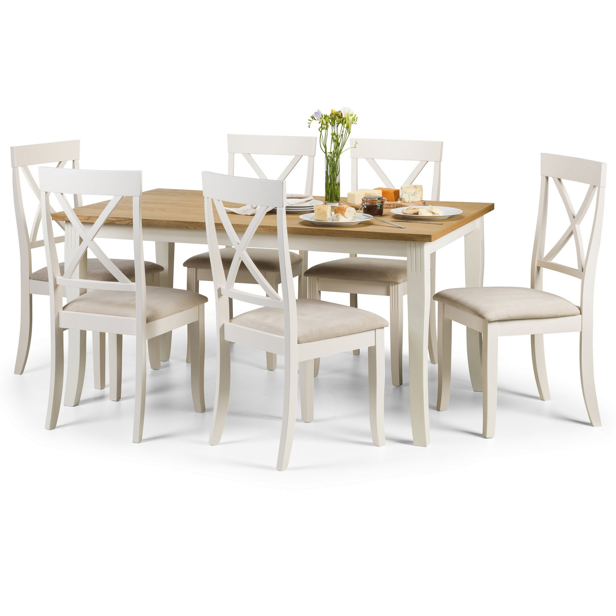 Davenport Dining Table with 6 Chairs Cream and Brown