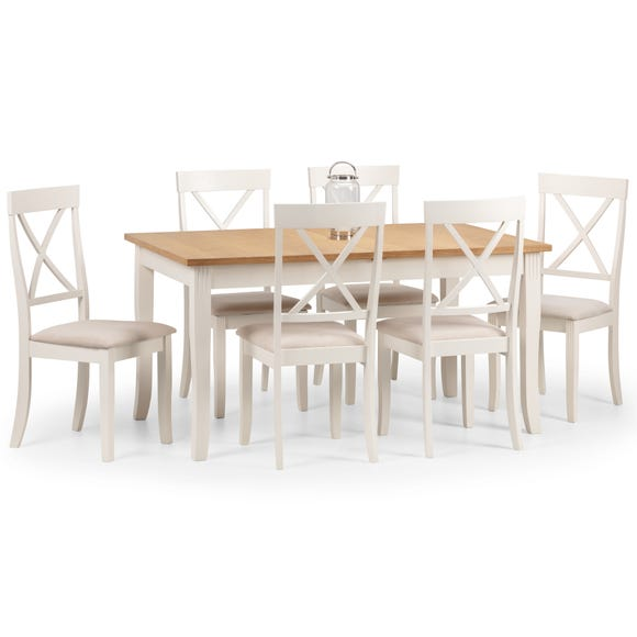 Davenport Extending Dining Table with 6 Chairs Ivory