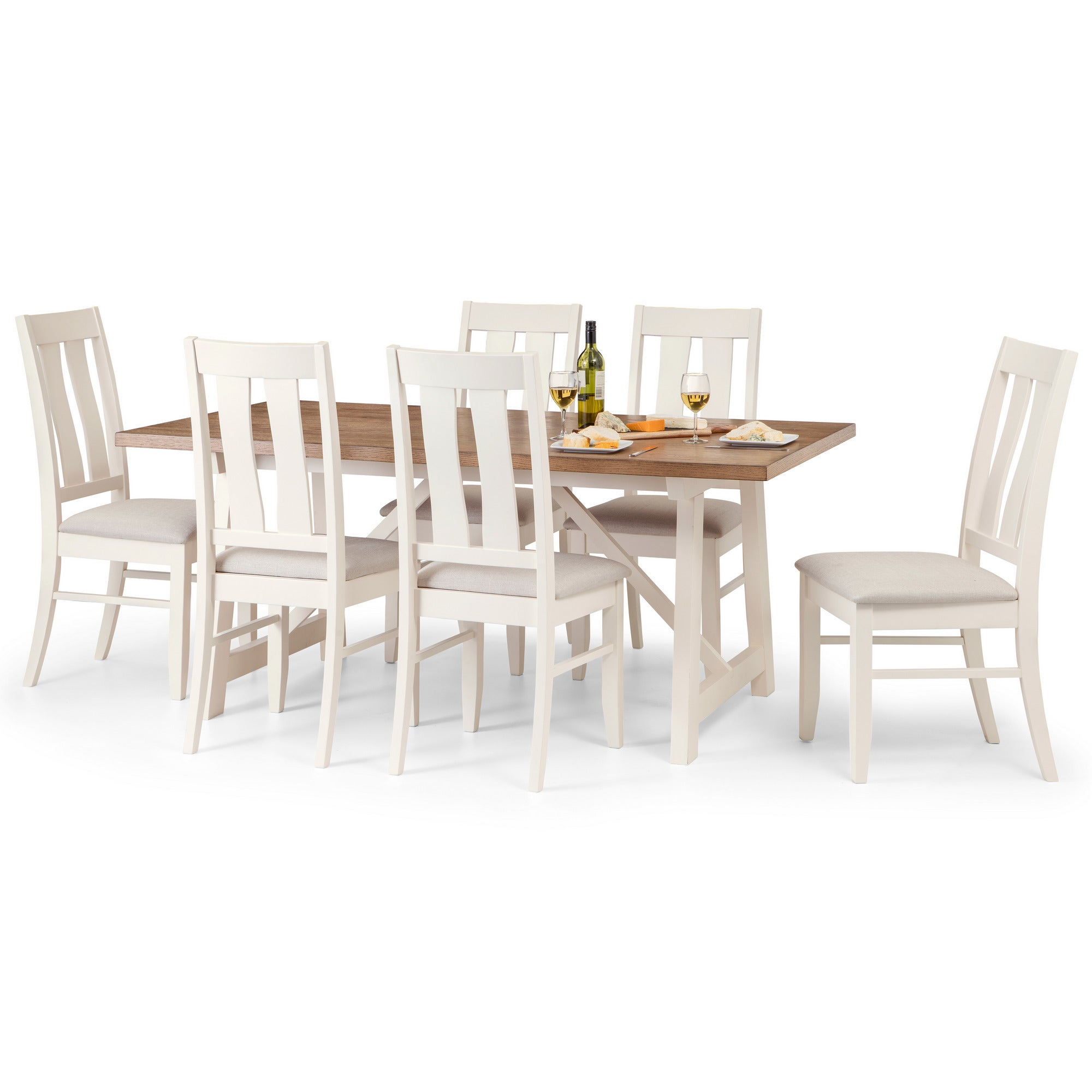 Pembroke Dining Table with 6 Chairs Cream