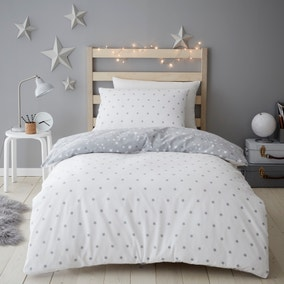 Constellation Brushed Cotton Reversible Duvet Cover and Pillowcase Set