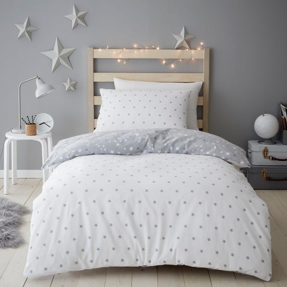 Constellation Brushed Cotton Reversible Duvet Cover and Pillowcase Set Grey undefined