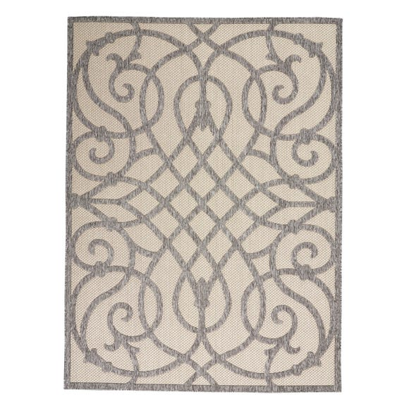 Cozumel Scroll Indoor Outdoor Rug Cozumel Scroll Grey and Cream undefined