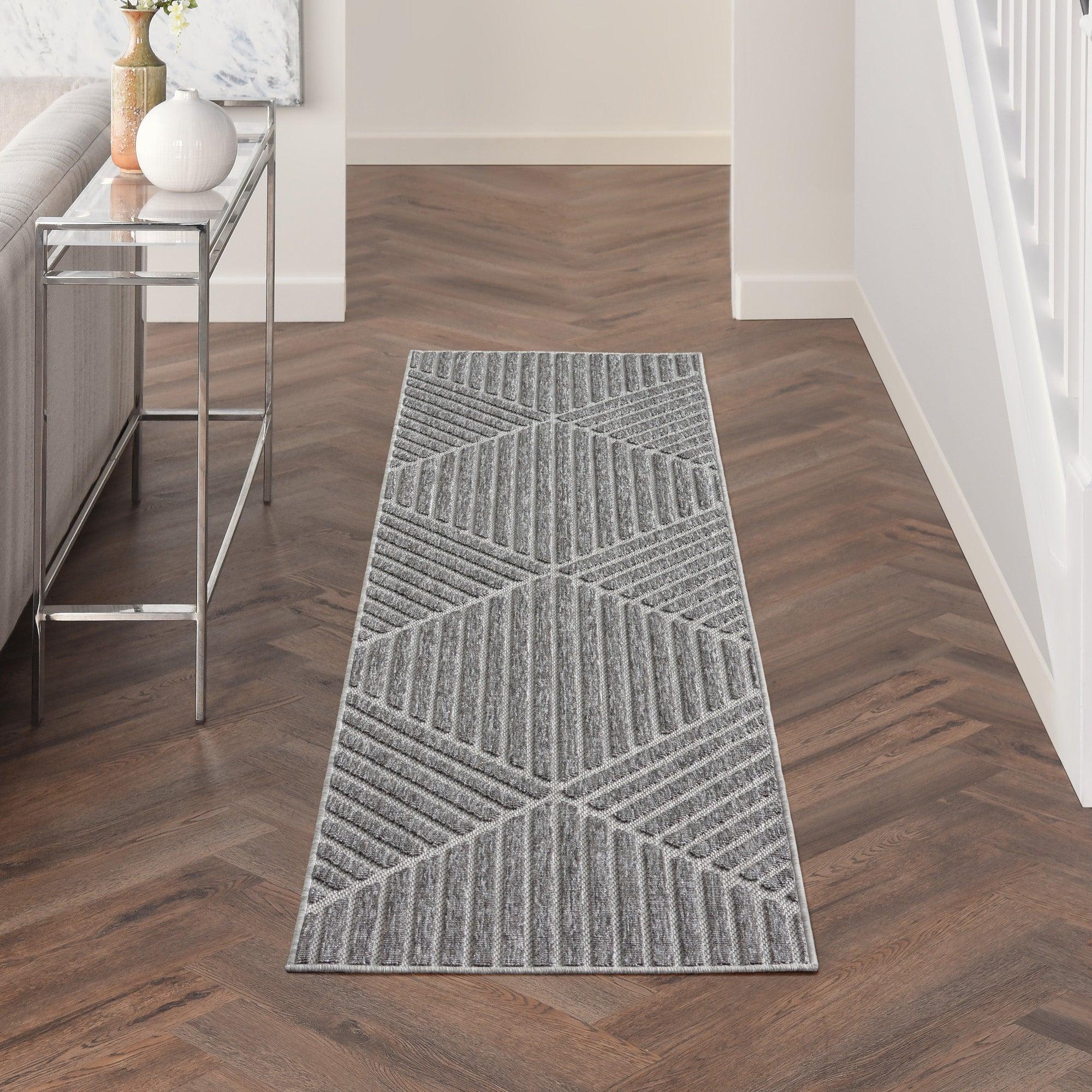 Photo of Cozumel stripe indoor outdoor runner cozumel stripe charcoal