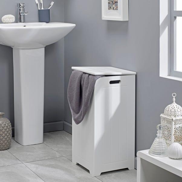 Rimini Style White Slimline Laundry Bin White